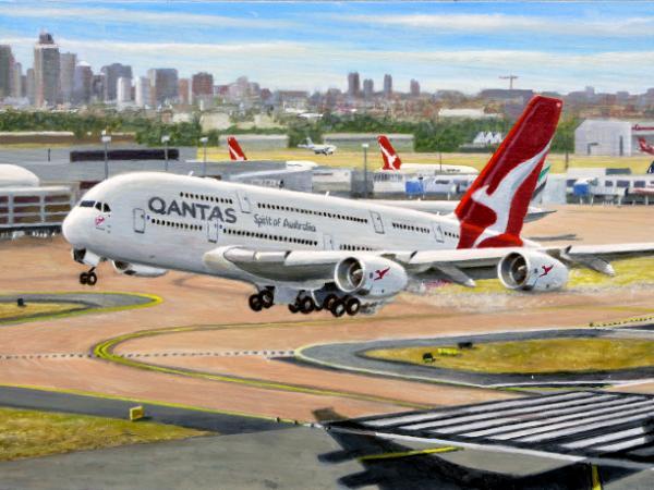 Qantas Airbus A380 Sydney Departure