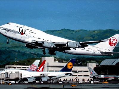 Japan Airlines Boeing 747-400 at LAX