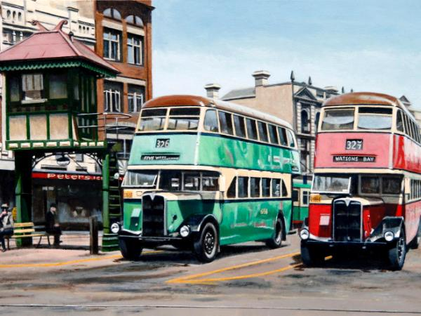 Buses in Taylor Square, Sydney 1947